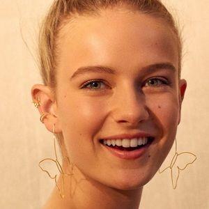 NWOT Anthro BaubleBar Gold Butterflies Earrings